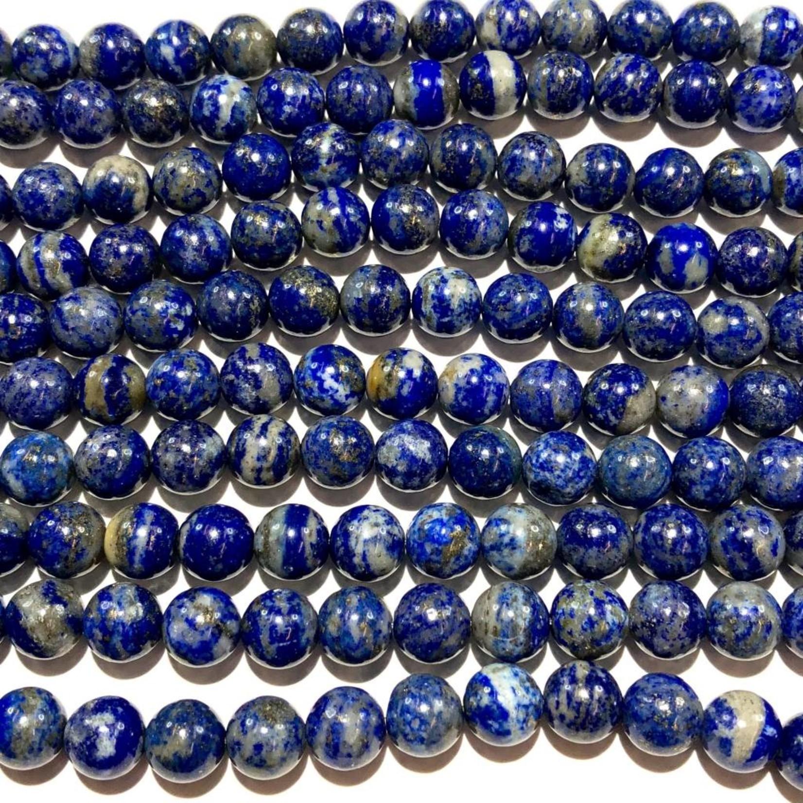 Natural UNDYED Lapis Lazuli Grade B 8mm Round
