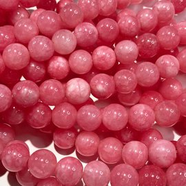 Common JADE Natural Dyed Bright Pink 8mm Rnd