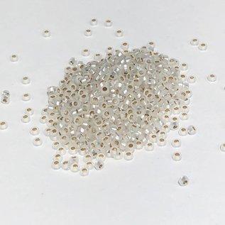 MIYUKI Rocaille 15-0 Matte Silver Lined Crystal 8g