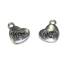 Tibetan Cast Alloy Mom Heart Charm 12pcs