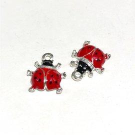 Silver Plated 15mm Enamel Ladybug Charm 10pcs