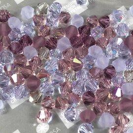 Preciosa Crystal 4mm Bicone MIX Lilacs 144pcs