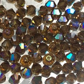 Preciosa Crystal 3mm Bicone Smoked Topaz AB 144pcs