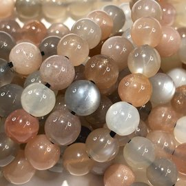 Moonstone Brown/Peach/White 6mm Round