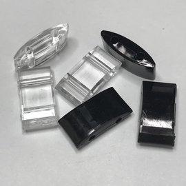 Acrylic Carrier Bead 17 x 9mm Black/Clear 20pcs