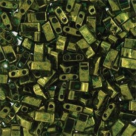 MIYUKI Tila Half Cut Olive Green Gold Luster 10g