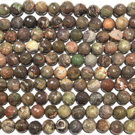 Rhyolite Jasper Faceted Round Beads 10mm
