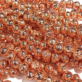 Electroplated LAVA Stone Rose Gold 6mm Round