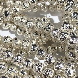Electroplated LAVA Stone Silver 6mm Round