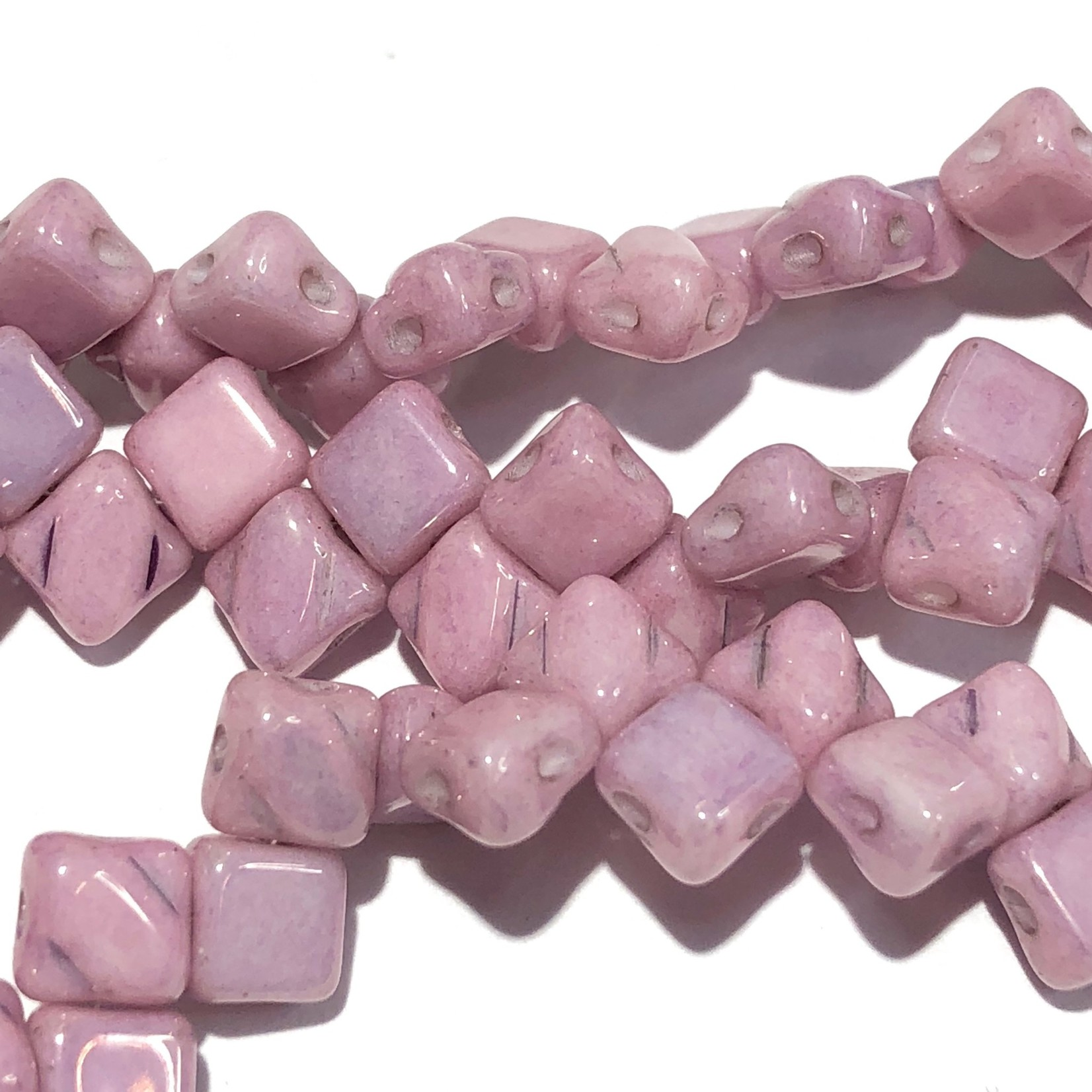 2-Hole SILKY Bead Lilac Luster 40pcs 5mm