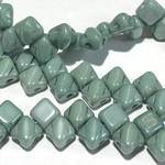 2-Hole SILKY Bead Green Luster 40pcs 5mm