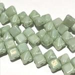 2-Hole SILKY Bead Light Green Luster 40pcs 5mm