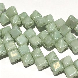 2-Hole SILKY Bead Light Green Luster 40pcs 5mm