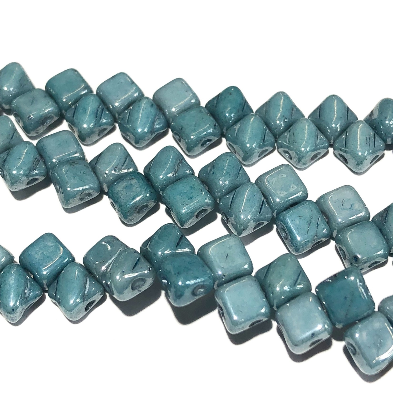 2-Hole SILKY Bead Blue Luster 40pcs 5mm