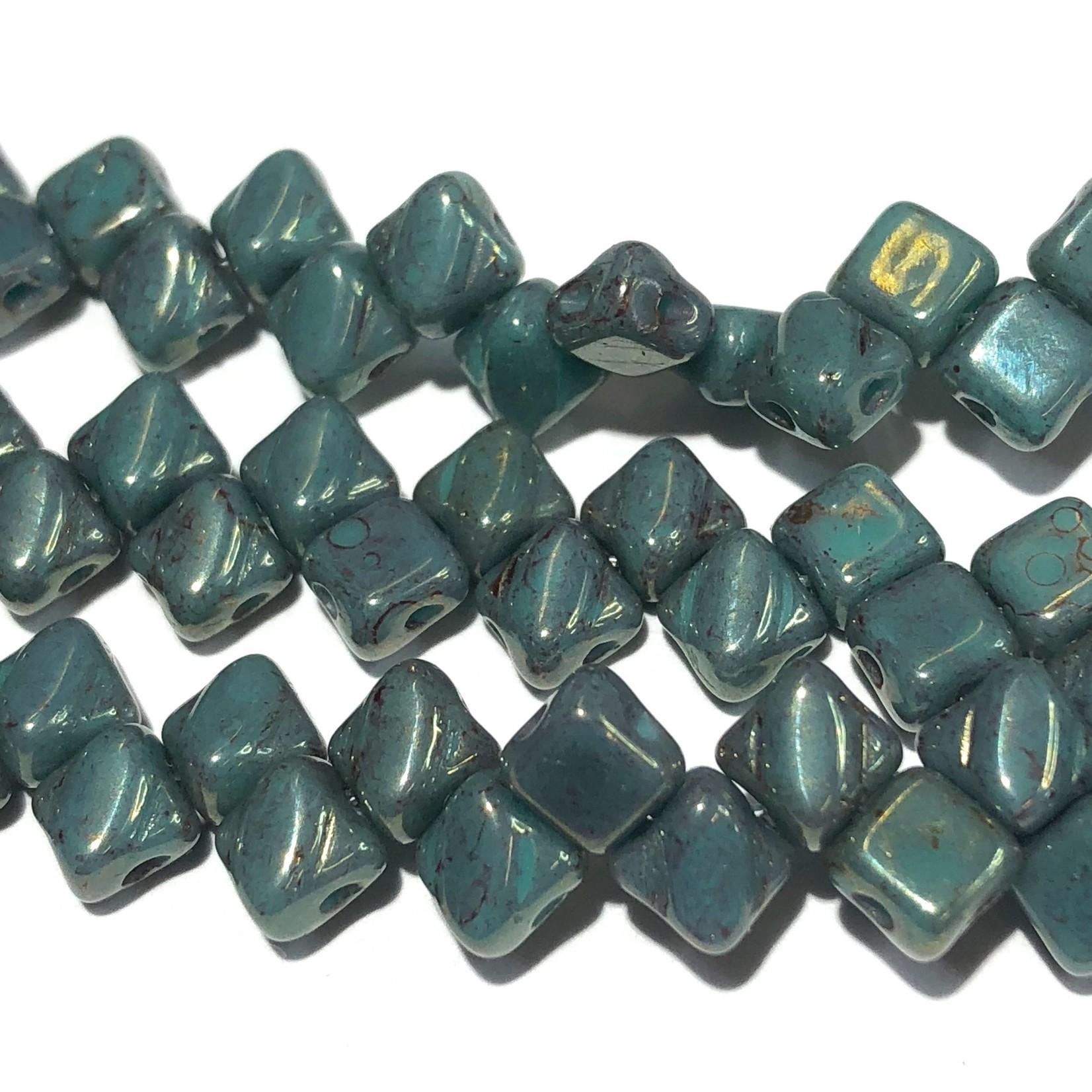 2-Hole SILKY Bead Green Turq Lumi 40pcs 5mm