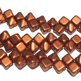 2-Hole SILKY Bead Bronze Fire Red 40pcs 5mm