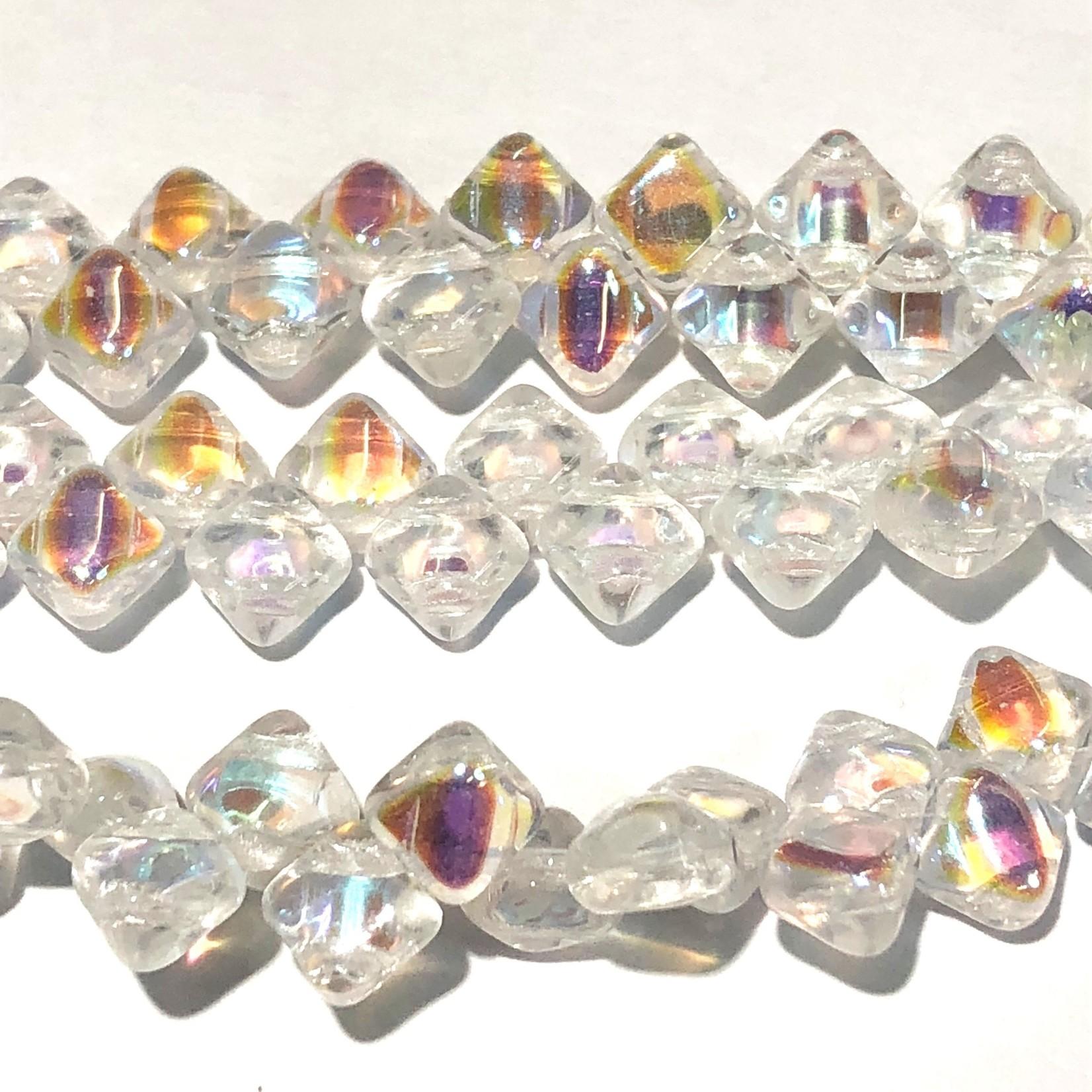 2-Hole SILKY Bead Crystal AB 40pcs 5mm