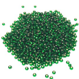 PRECIOSA 10-0 Seed Beads Silver Lined Green 22.5g