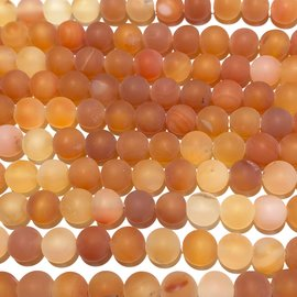 Natural Frosted Carnelian AGATE 8mm Round