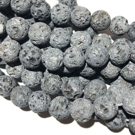 GREY LAVA Stone Natural 8mm Round