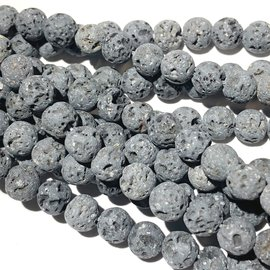 GREY LAVA Stone Natural 6mm Round