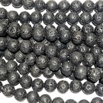 BLACK LAVA Stone Natural Round 10mm
