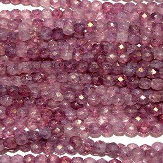 MATUBO Firepolish Stone Pink Luster 4mm