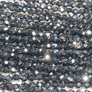 MATUBO Firepolish Hematite 4mm