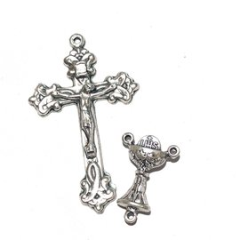 Antique Silver Rosary Cross & Centre Set 9