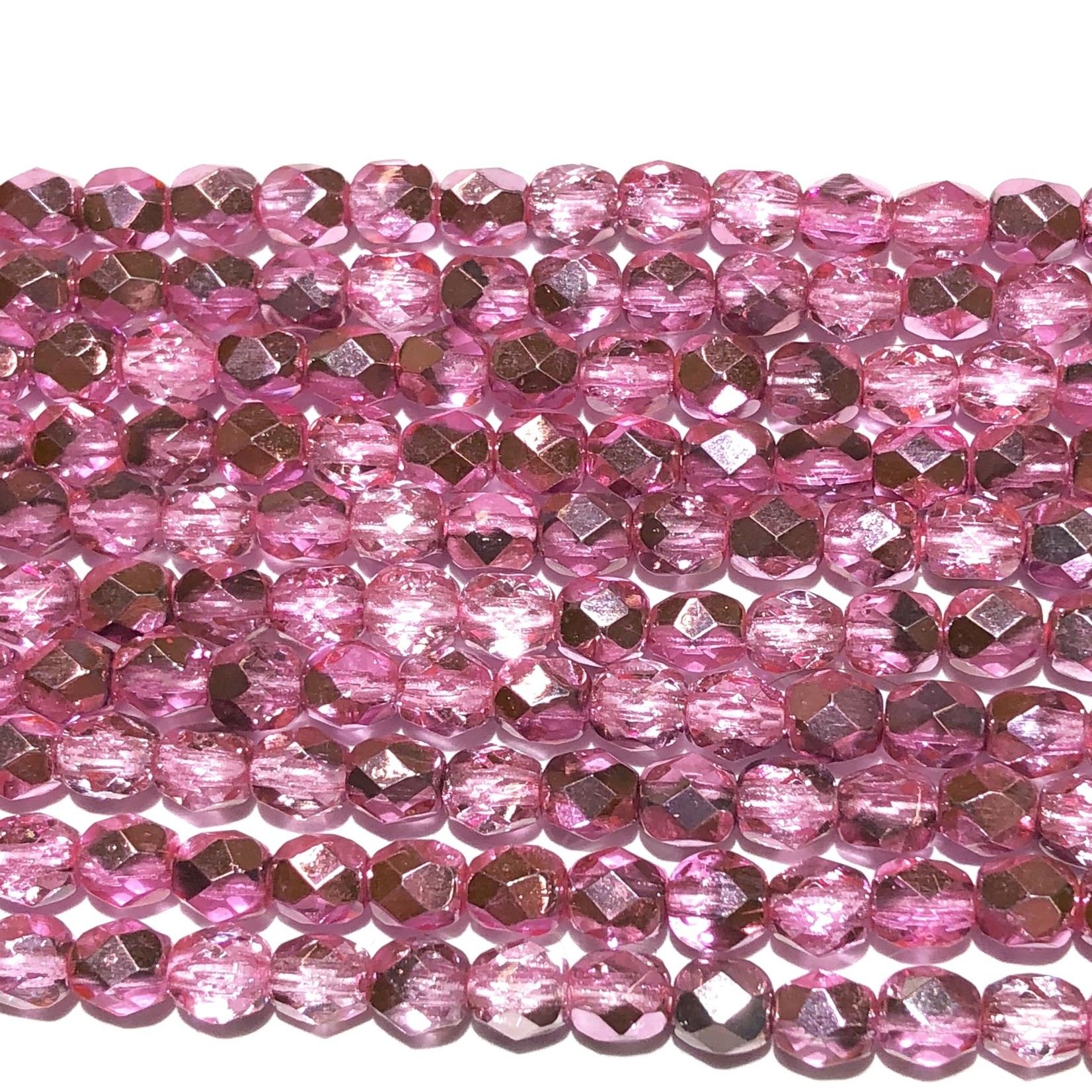 MATUBO Firepolish Metallic Crystal Hot Pink 4mm