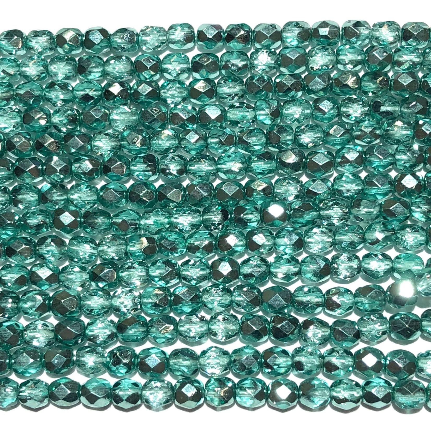 MATUBO Firepolish Metallic Crystal Aqua 4mm