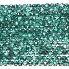 MATUBO Firepolish Metallic Crystal Aqua 4mm