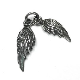 Sterling Silver Double Wing Mini Charm 16.5x6mm