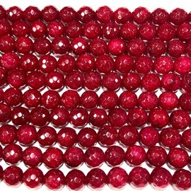 MALAYSIAN JADE Dyed Dark Red 8mm Faceted