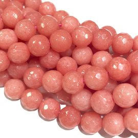 MALAYSIA JADE Dyed Pink Coral 8mm Faceted