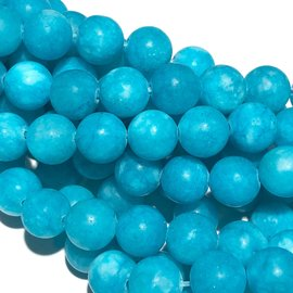 Common Jade Lt Cerulean Blue Frosted 8mm Round