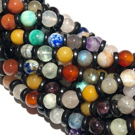 GEMSTONE Asst'd w/Black Agate Spacer 6mm Rnd