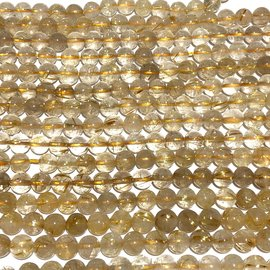 QUARTZ Golden Rutilated Natural Gd A 6mm Round