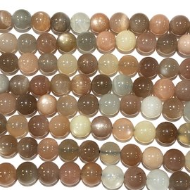 Moonstone Brown/Peach/White Grade A 8mm Rnd