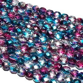 PRECIOSA Firepolish Metallic Amethyst Aqua 6mm