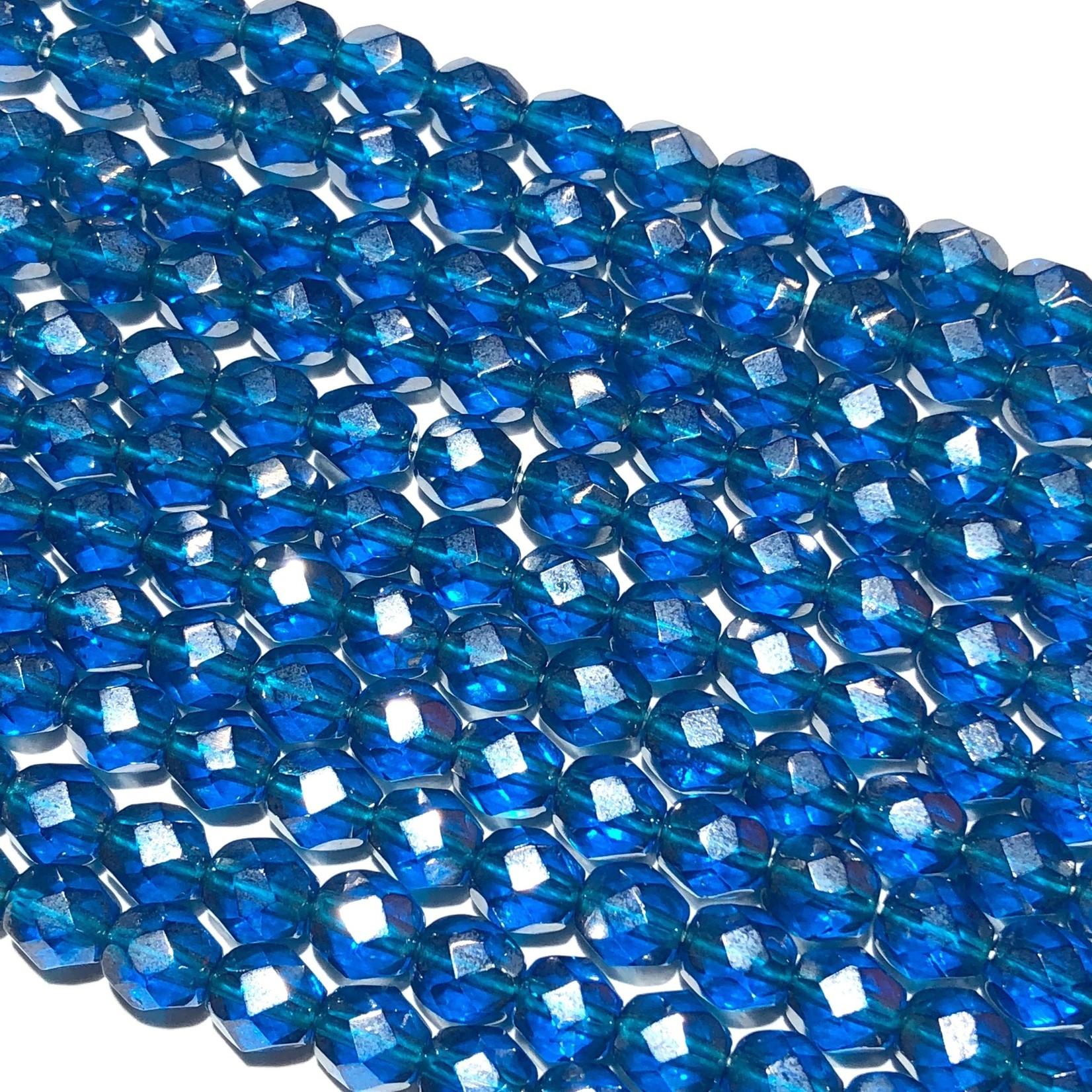 PRECIOSA Firepolish Capri Blue Luster 6mm