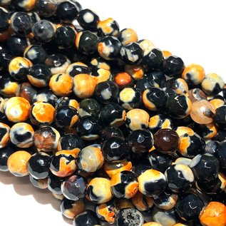 Dyed Fire AGATE Orange/Black 6mm Faceted