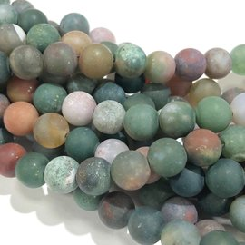Natural Indian Agate Frosted 6mm Round