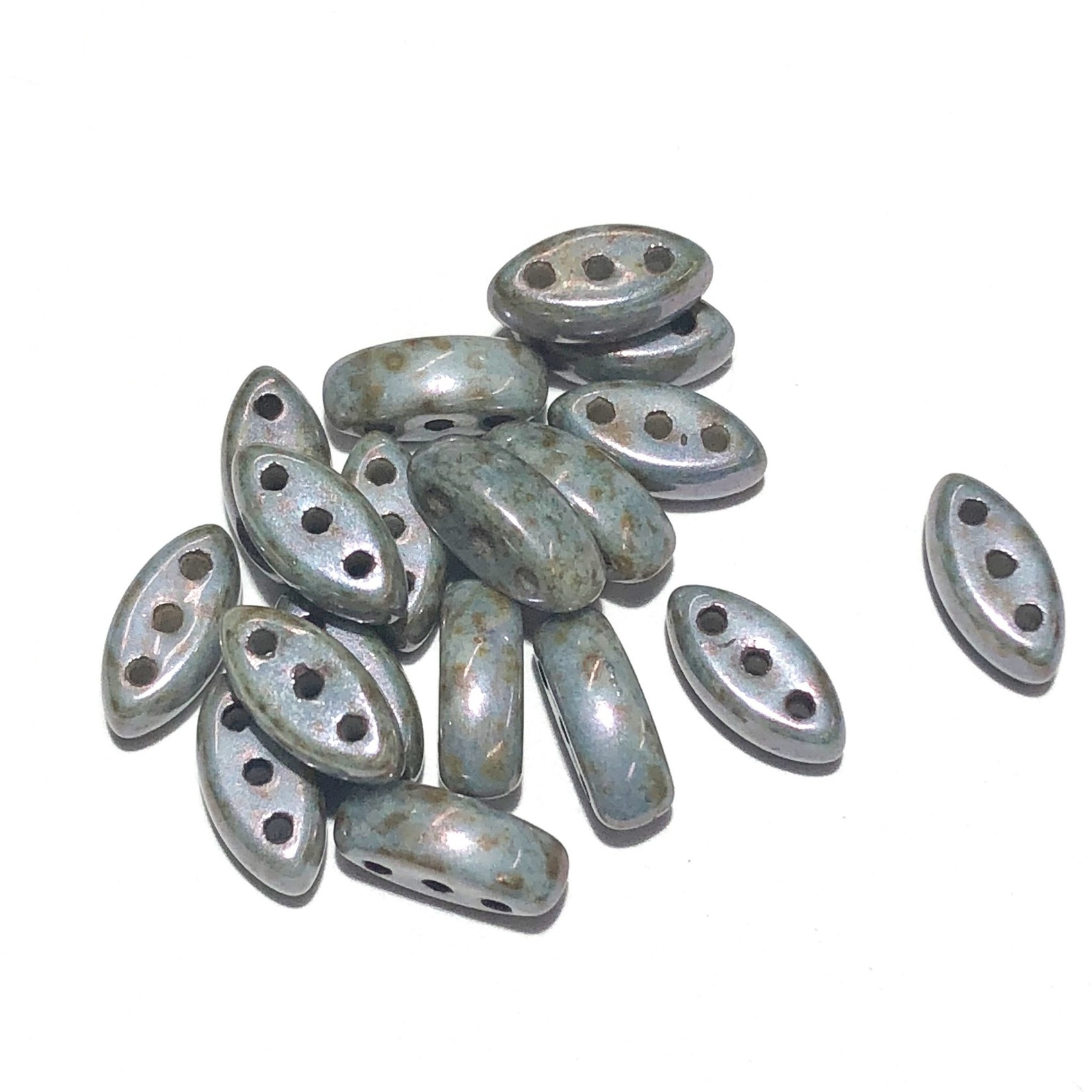 Cali Beads 3-Hole Chalk White/Blue Satin 40pcs