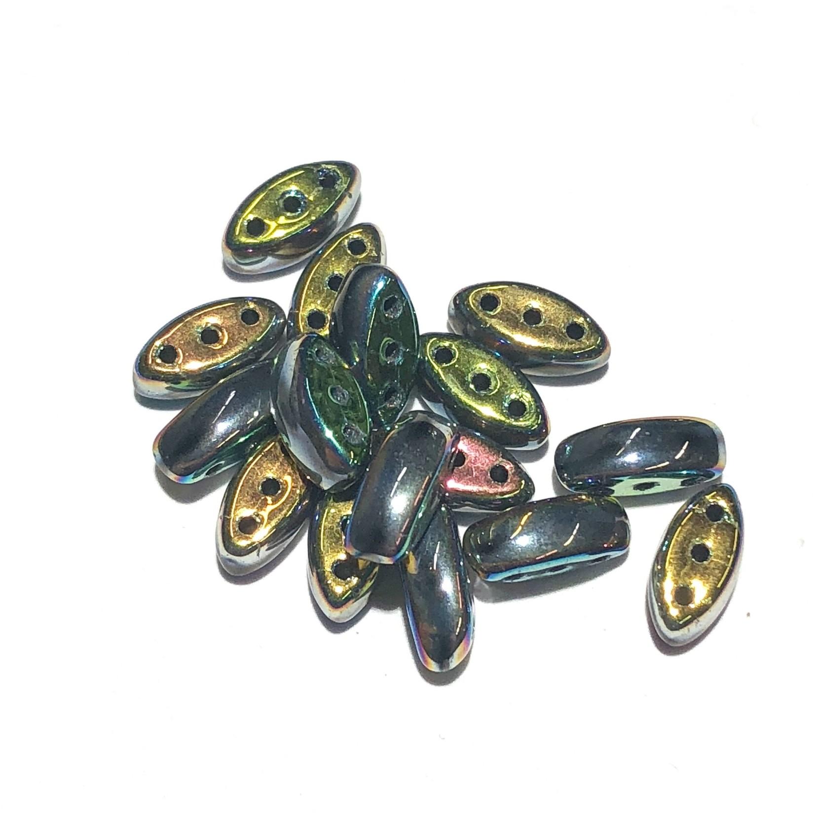 Cali Beads 3-Hole Black/Vitrail 40pcs