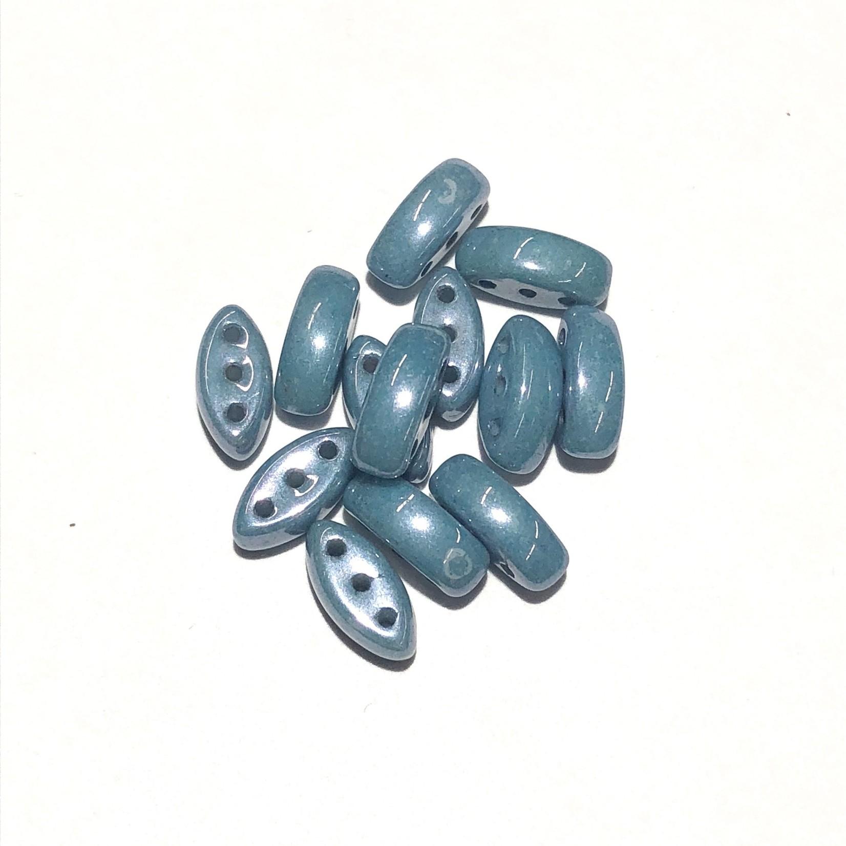 Cali Beads 3-Hole Chalk White/Dk Blue Luster 40pcs