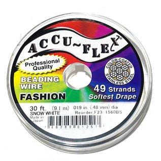 ACCU FLEX Bead Wire 49 Str .019in, 30 Ft Snow White