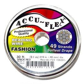 ACCU FLEX Bead Wire 49 Str .019in, 30 Ft Brick Red