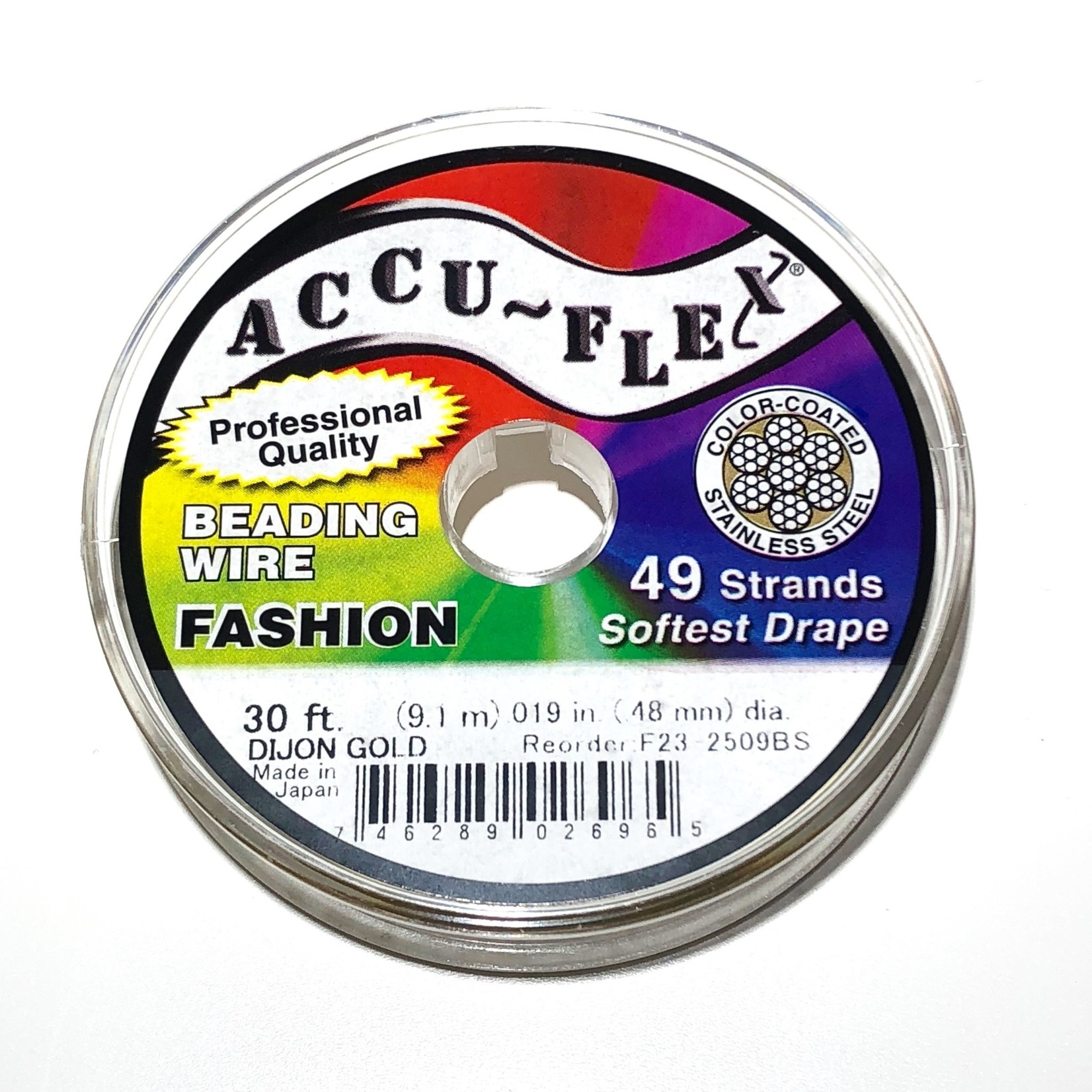 ACCU FLEX Bead Wire 49 Str .019in, 30 Ft Gold