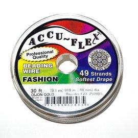 ACCU FLEX Bead Wire 49 Str .019in, 30 Ft Gold
